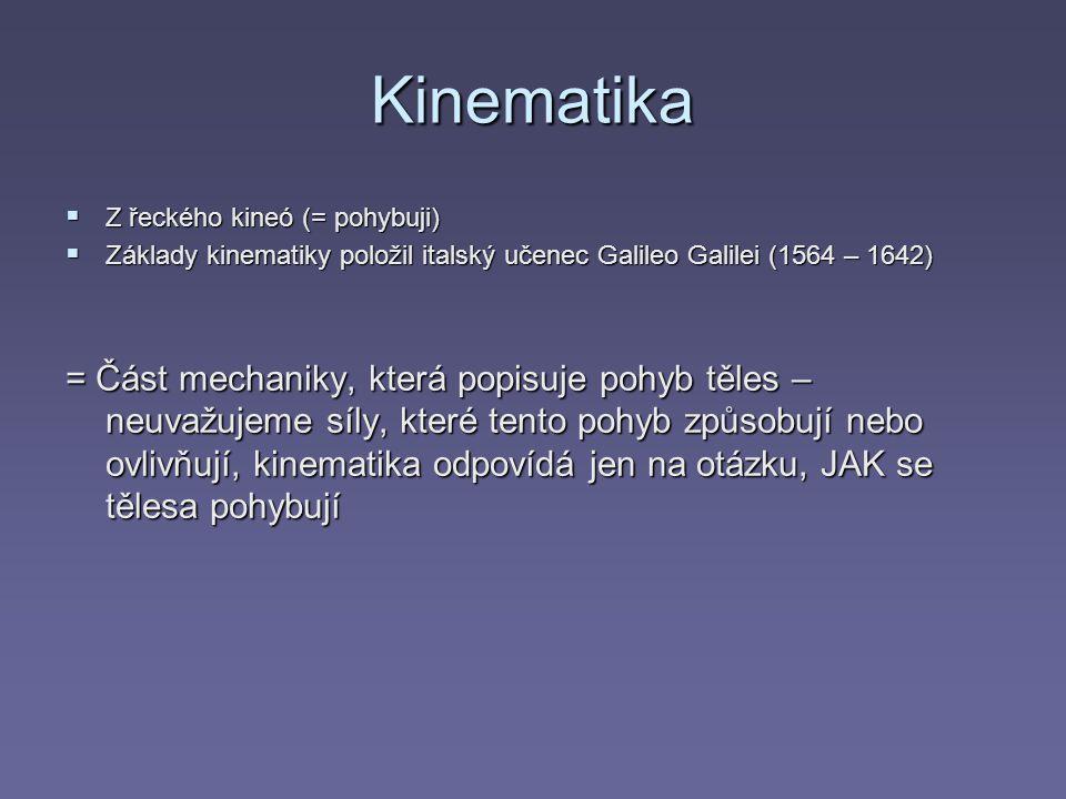 Kinematika Z řeckého kineó (= pohybuji) Základy kinematiky položil italský učenec Galileo Galilei (1564 – 1642)