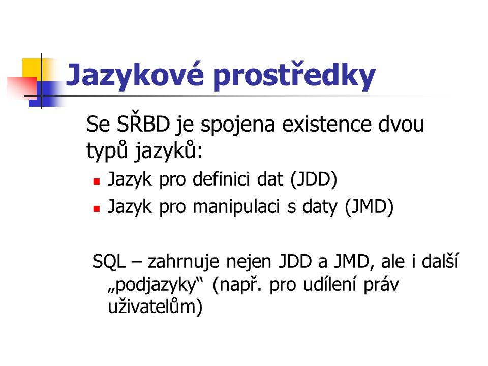 Jazykové prostředky Se SŘBD je spojena existence dvou typů jazyků: