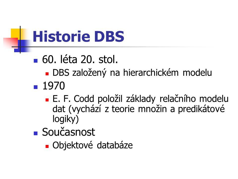 Historie DBS 60. léta 20. stol. 1970 Současnost