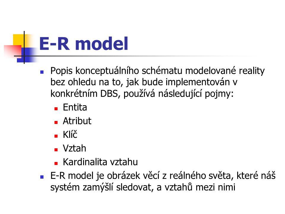 E-R model Popis konceptuálního schématu modelované reality bez ohledu na to, jak bude implementován v konkrétním DBS, používá následující pojmy: