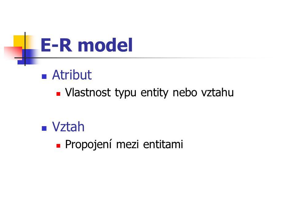 E-R model Atribut Vztah Vlastnost typu entity nebo vztahu