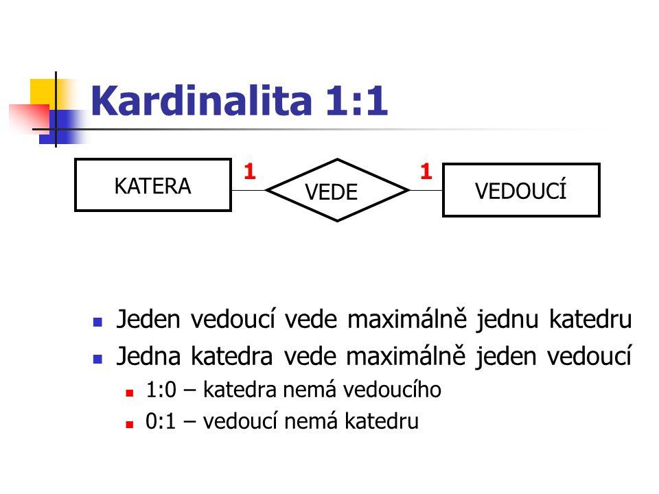 Kardinalita 1:1 Jeden vedoucí vede maximálně jednu katedru