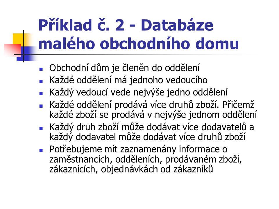 Příklad č. 2 - Databáze malého obchodního domu