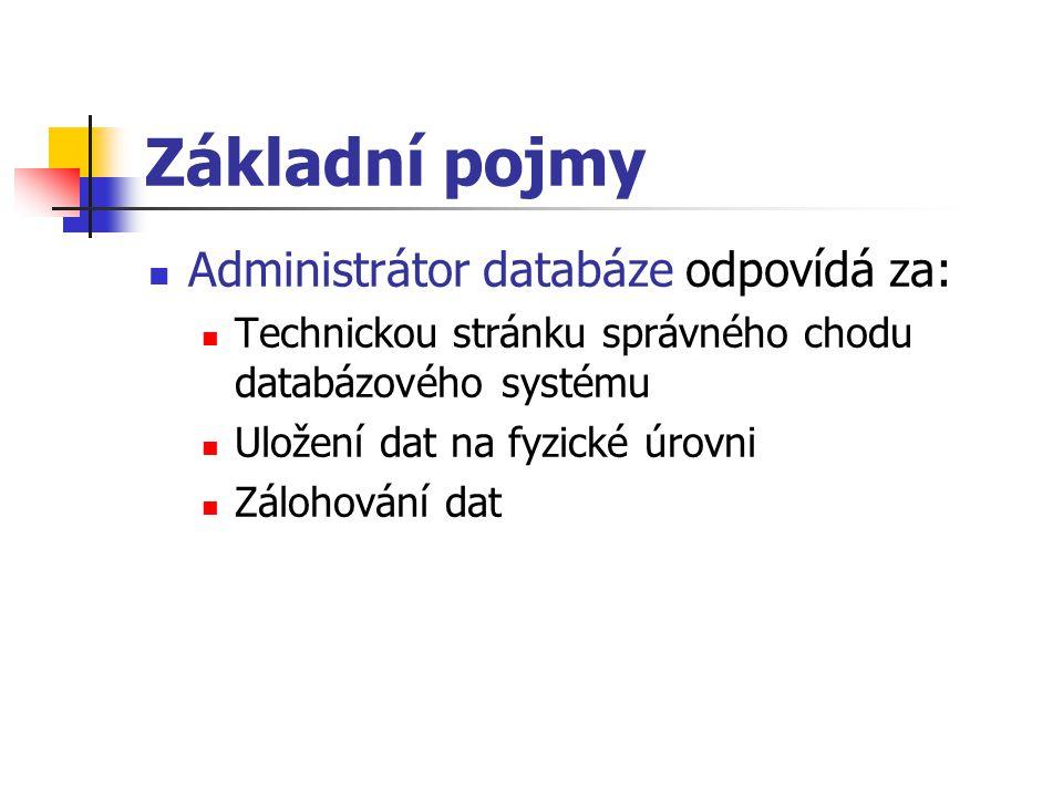 Základní pojmy Administrátor databáze odpovídá za: