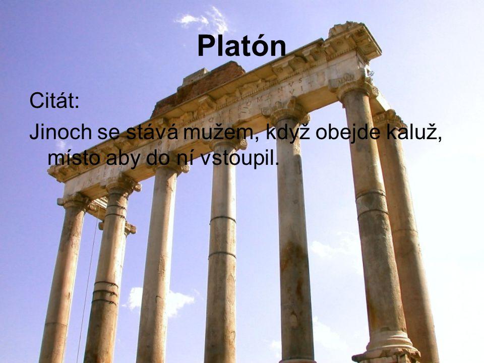 Platón Citát: Jinoch se stává mužem, když obejde kaluž, místo aby do ní vstoupil.