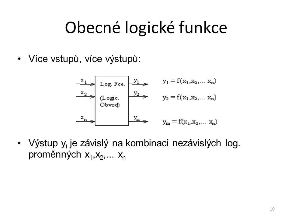 Obecné logické funkce Více vstupů, více výstupů: