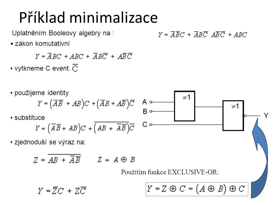 Příklad minimalizace Uplatněním Booleovy algebry na :