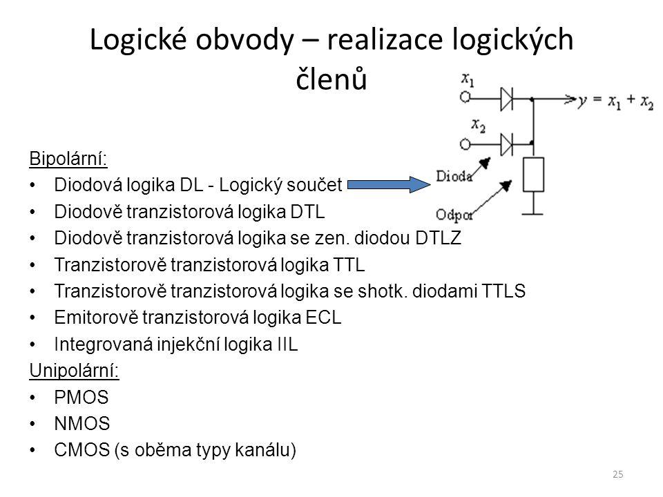 Logické obvody – realizace logických členů