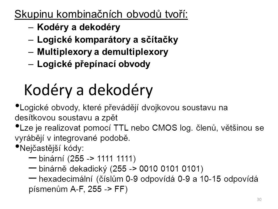 Kodéry a dekodéry Skupinu kombinačních obvodů tvoří: Kodéry a dekodéry