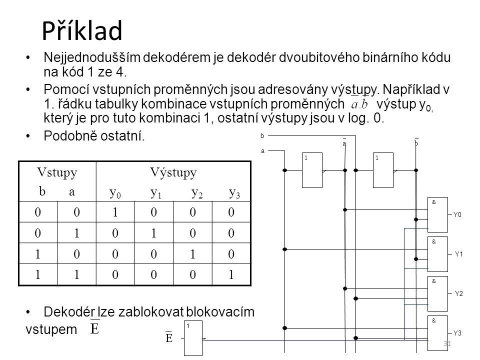Příklad 8.4.2017. Nejjednodušším dekodérem je dekodér dvoubitového binárního kódu na kód 1 ze 4.