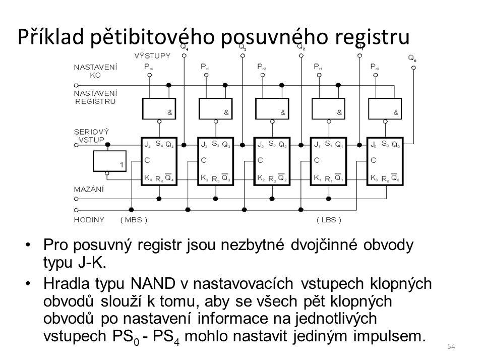 Příklad pětibitového posuvného registru