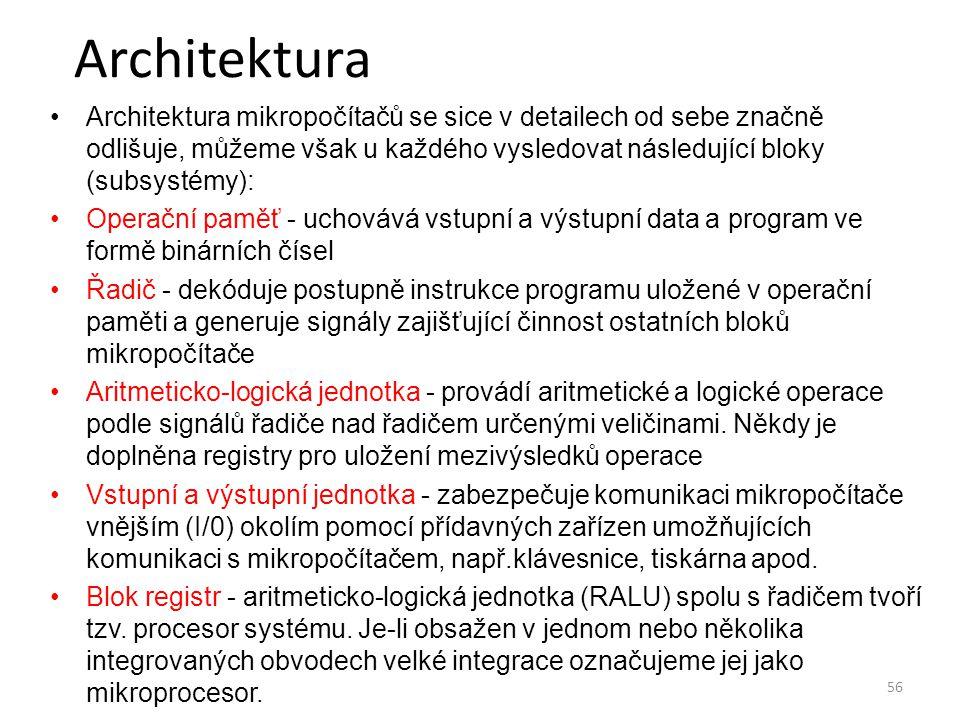 Architektura Architektura mikropočítačů se sice v detailech od sebe značně odlišuje, můžeme však u každého vysledovat následující bloky (subsystémy):