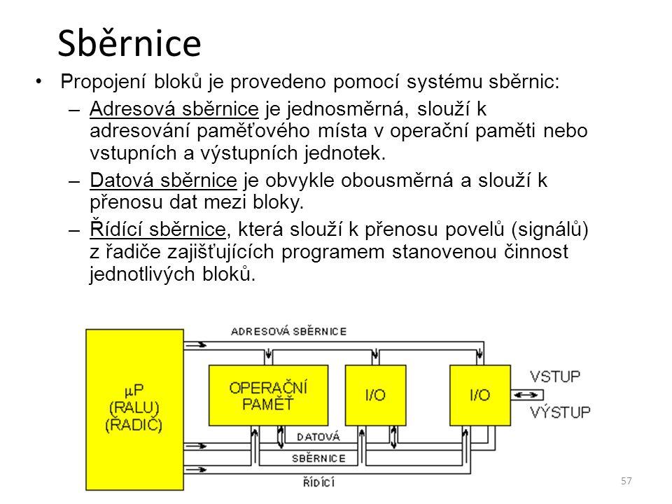 Sběrnice Propojení bloků je provedeno pomocí systému sběrnic: