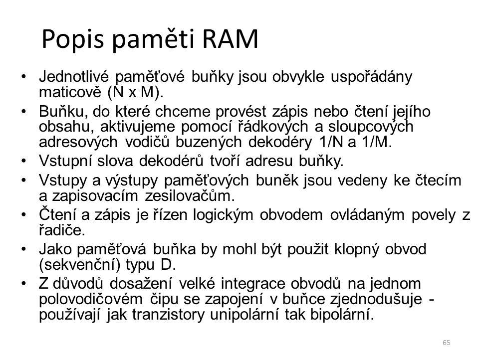 Popis paměti RAM Jednotlivé paměťové buňky jsou obvykle uspořádány maticově (N x M).