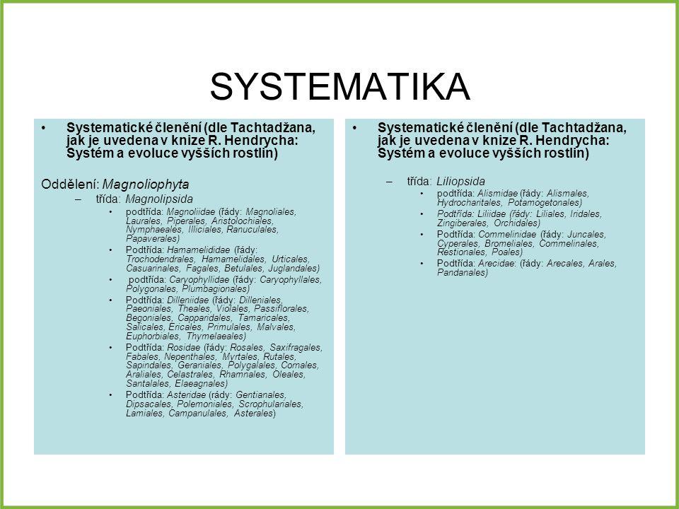 SYSTEMATIKA Systematické členění (dle Tachtadžana, jak je uvedena v knize R. Hendrycha: Systém a evoluce vyšších rostlin)