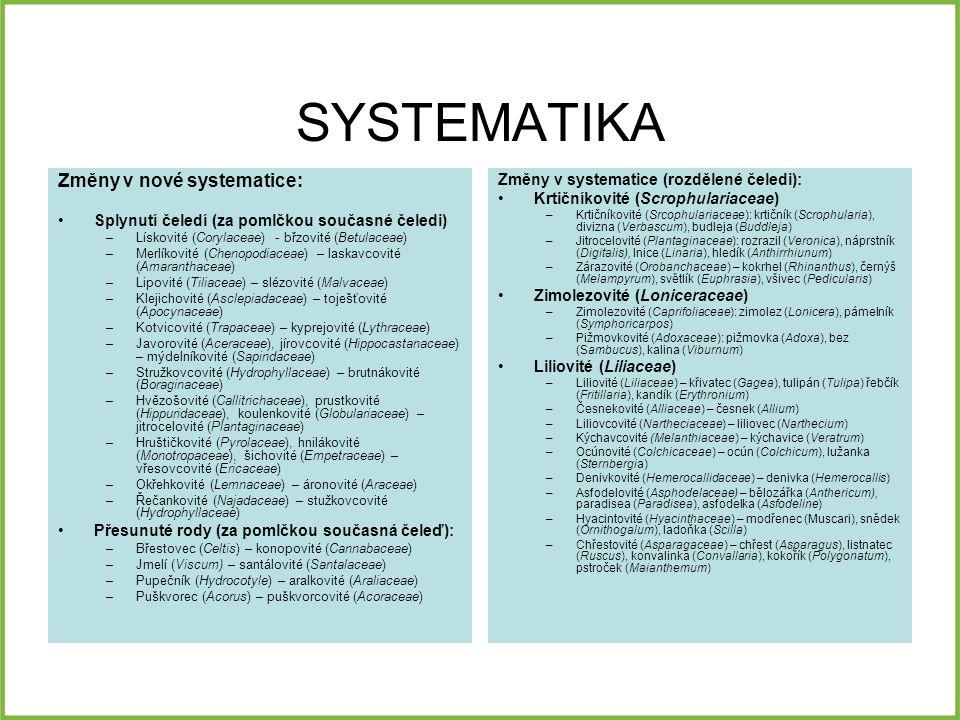 SYSTEMATIKA Změny v nové systematice: