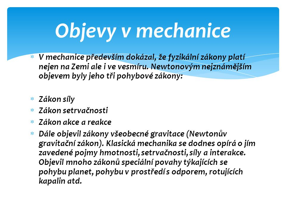 Objevy v mechanice