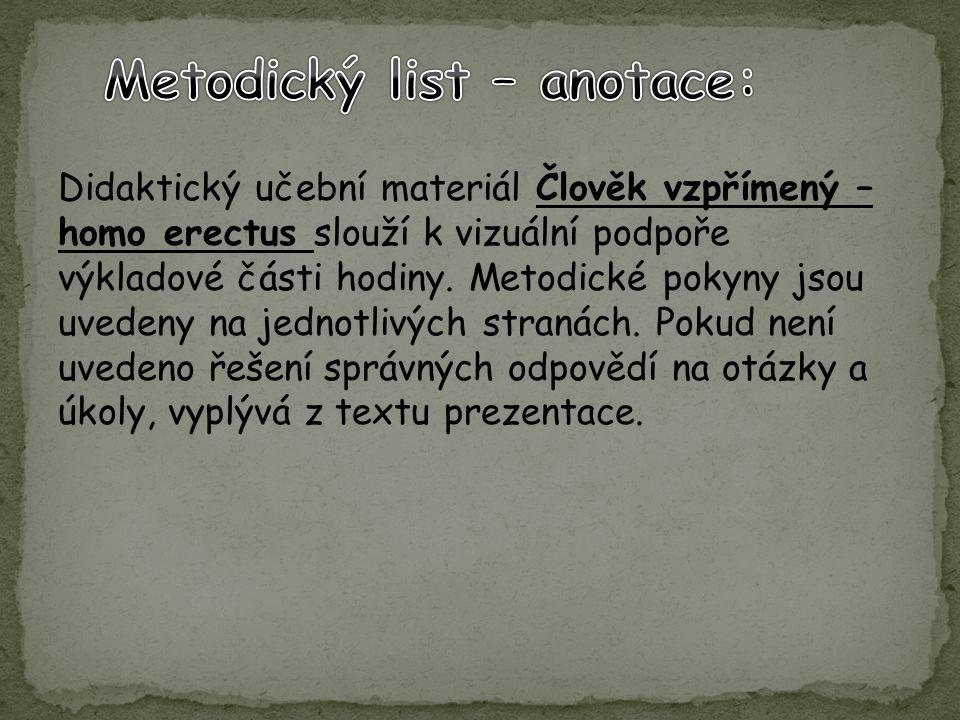 Metodický list – anotace: