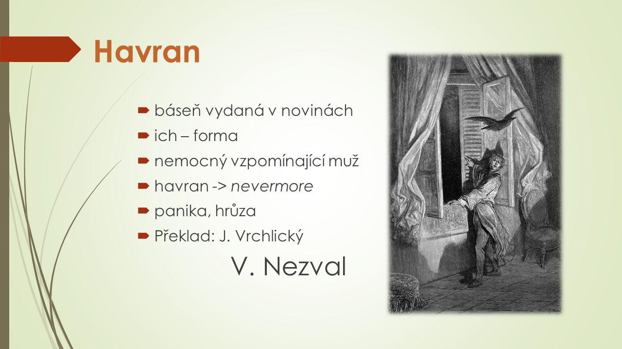 Havran V. Nezval báseň vydaná v novinách ich – forma