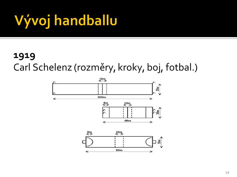 Vývoj handballu 1919 Carl Schelenz (rozměry, kroky, boj, fotbal.)