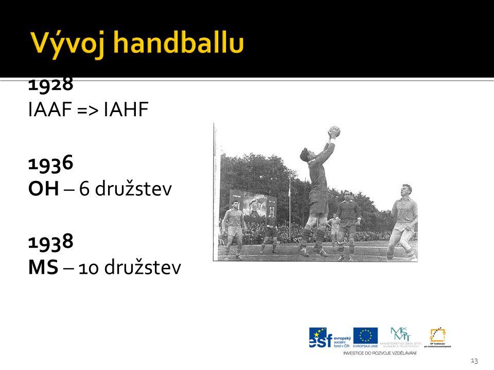 Vývoj handballu 1928 IAAF => IAHF 1936 OH – 6 družstev 1938 MS – 10 družstev