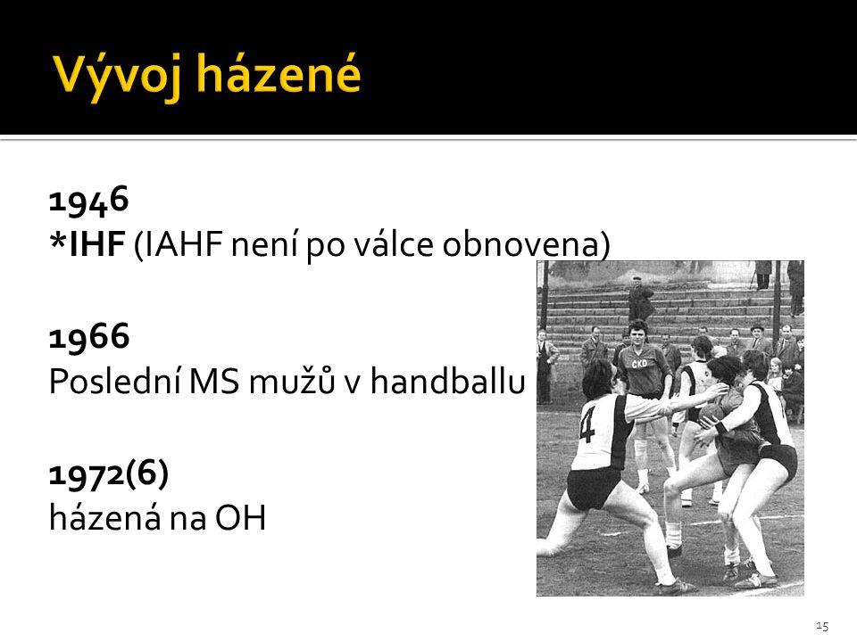 Vývoj házené 1946 *IHF (IAHF není po válce obnovena) 1966 Poslední MS mužů v handballu 1972(6) házená na OH