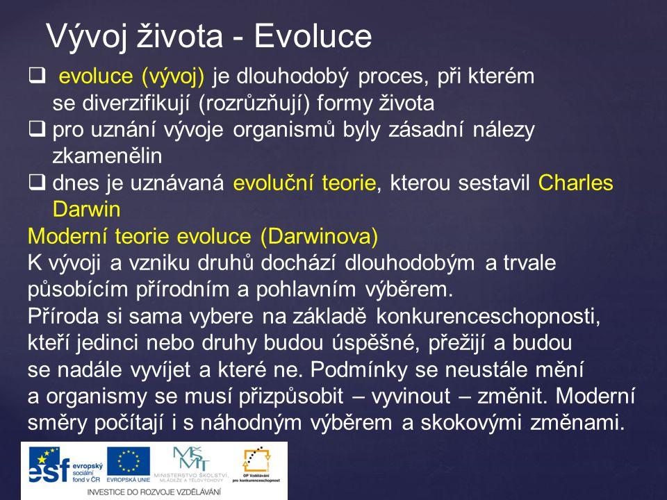 Vývoj života - Evoluce evoluce (vývoj) je dlouhodobý proces, při kterém se diverzifikují (rozrůzňují) formy života.