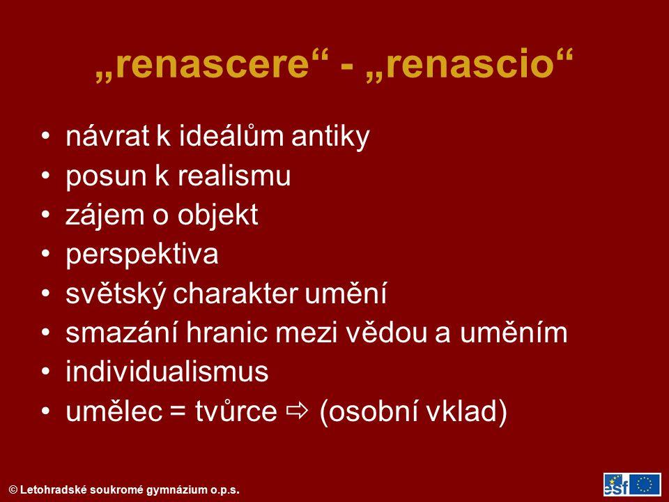 """""""renascere - """"renascio"""