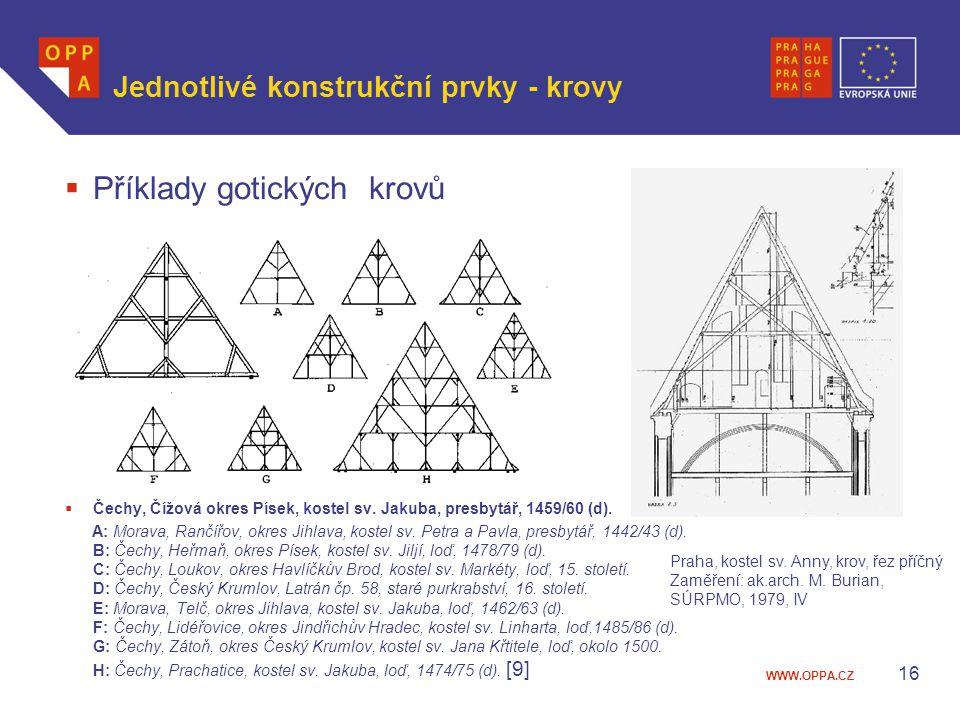 Jednotlivé konstrukční prvky - krovy