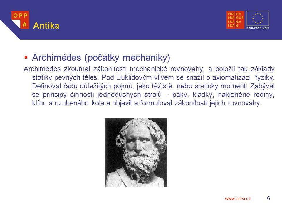 Archimédes (počátky mechaniky)