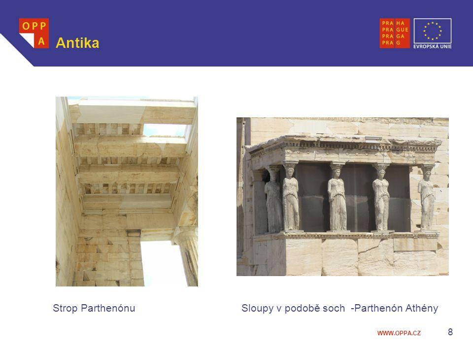 Antika Strop Parthenónu Sloupy v podobě soch -Parthenón Athény
