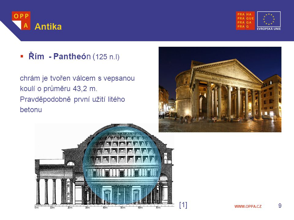 Antika Řím - Pantheón (125 n.l) chrám je tvořen válcem s vepsanou