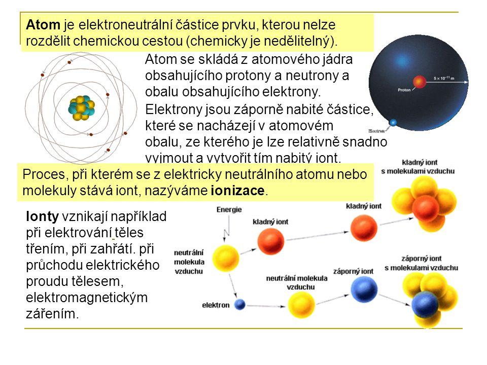 Atom je elektroneutrální částice prvku, kterou nelze rozdělit chemickou cestou (chemicky je nedělitelný).