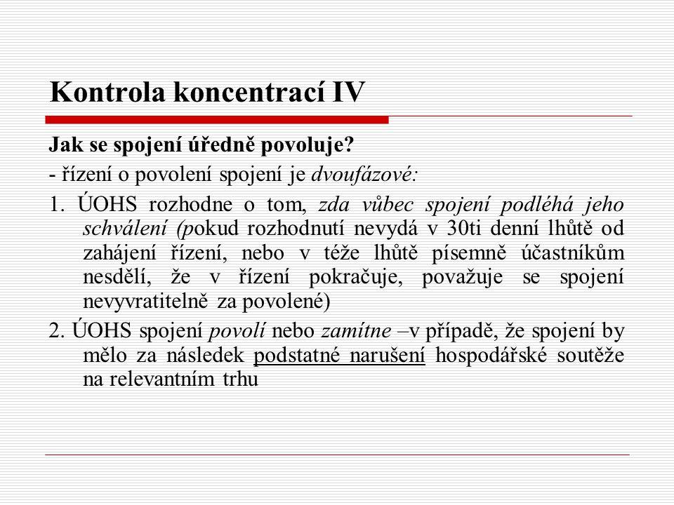 Kontrola koncentrací IV
