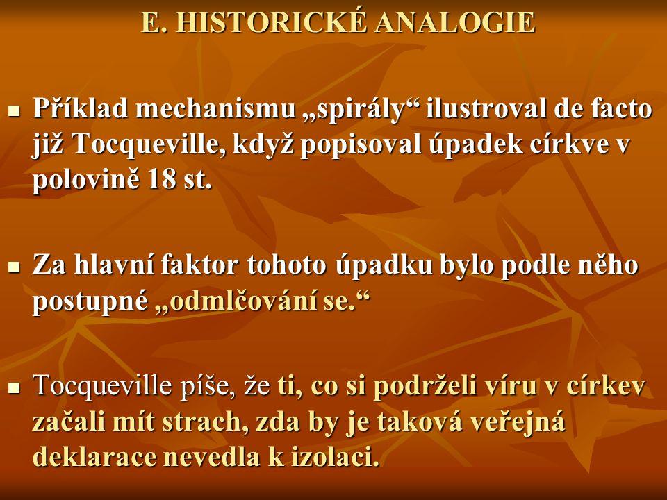 """E. HISTORICKÉ ANALOGIE Příklad mechanismu """"spirály ilustroval de facto již Tocqueville, když popisoval úpadek církve v polovině 18 st."""