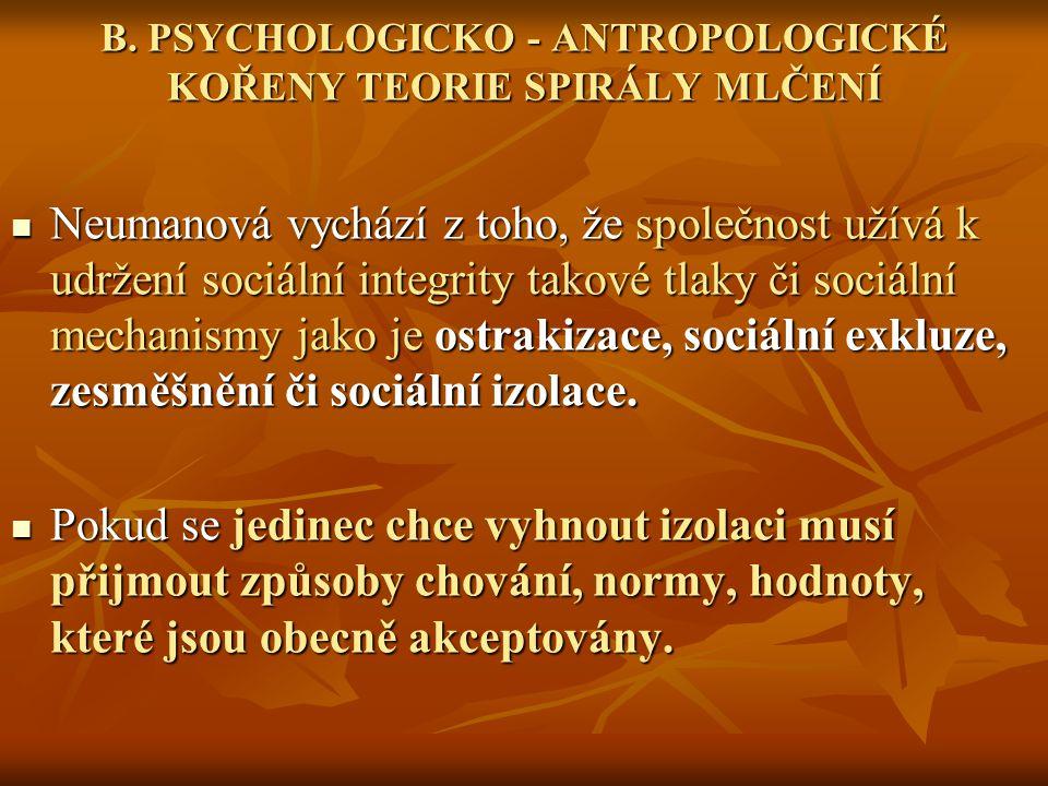 B. PSYCHOLOGICKO - ANTROPOLOGICKÉ KOŘENY TEORIE SPIRÁLY MLČENÍ