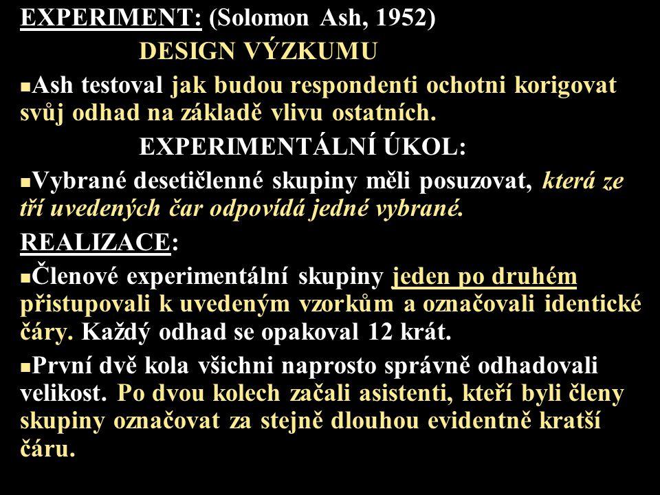 EXPERIMENT: (Solomon Ash, 1952)