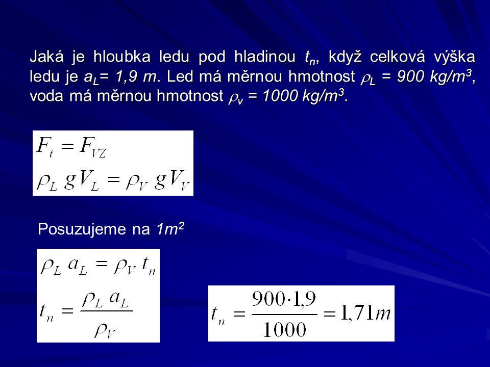 Jaká je hloubka ledu pod hladinou tn, když celková výška ledu je aL= 1,9 m. Led má měrnou hmotnost rL = 900 kg/m3, voda má měrnou hmotnost rv = 1000 kg/m3.