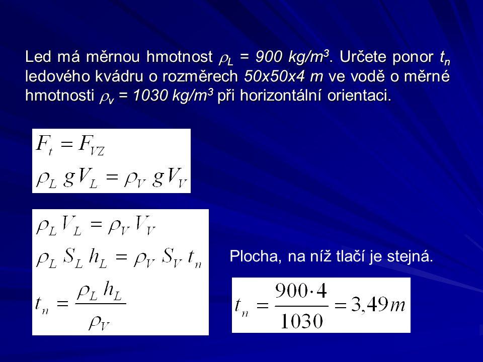 Led má měrnou hmotnost rL = 900 kg/m3