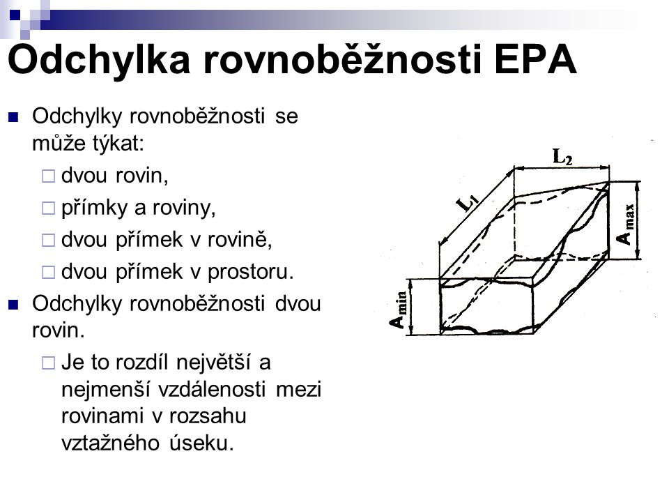Odchylka rovnoběžnosti EPA