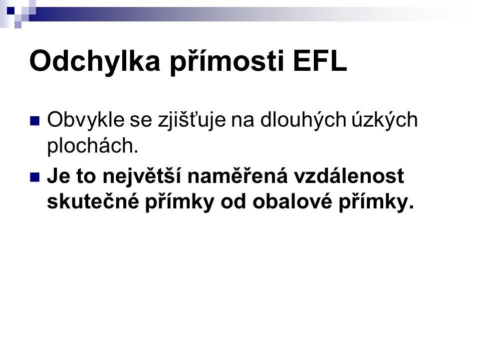 Odchylka přímosti EFL Obvykle se zjišťuje na dlouhých úzkých plochách.