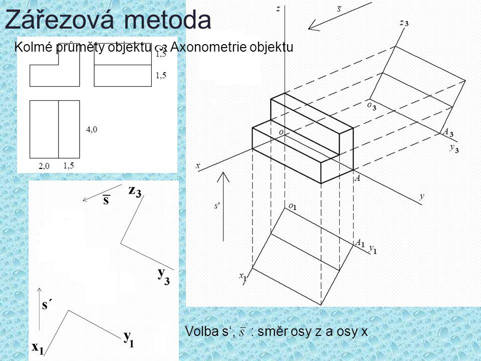 Zářezová metoda Kolmé průměty objektu  Axonometrie objektu
