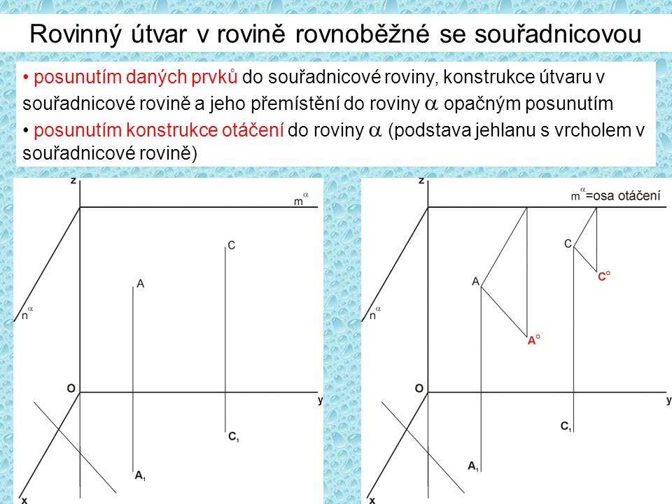 Rovinný útvar v rovině rovnoběžné se souřadnicovou