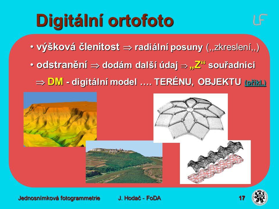 Digitální ortofoto Technologie vhodná vstupní data