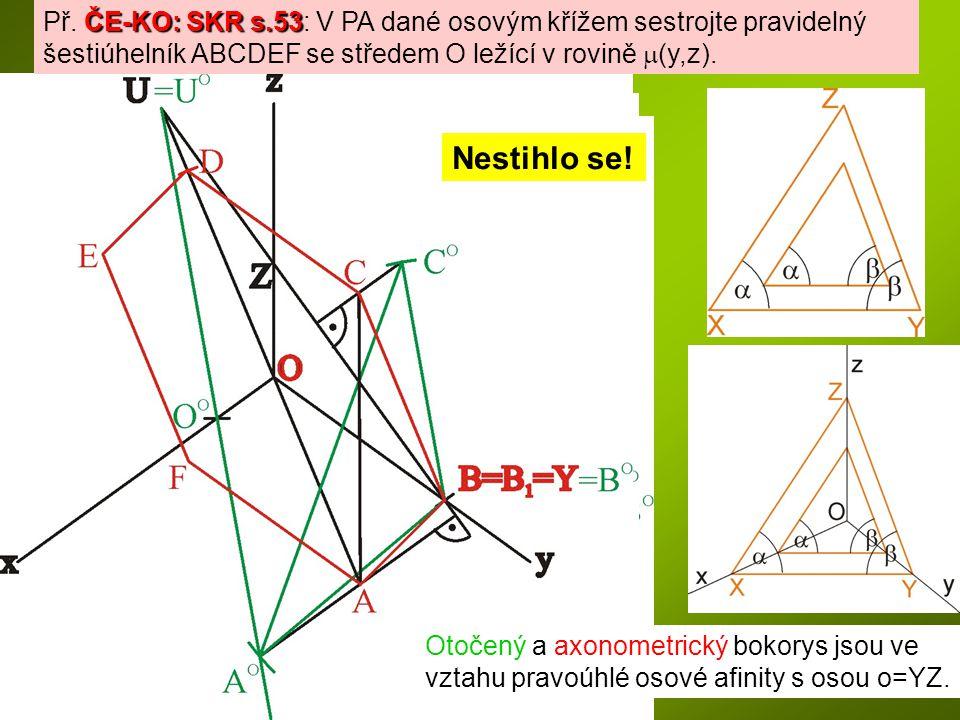 Př. ČE-KO: SKR s.53: V PA dané osovým křížem sestrojte pravidelný šestiúhelník ABCDEF se středem O ležící v rovině m(y,z).
