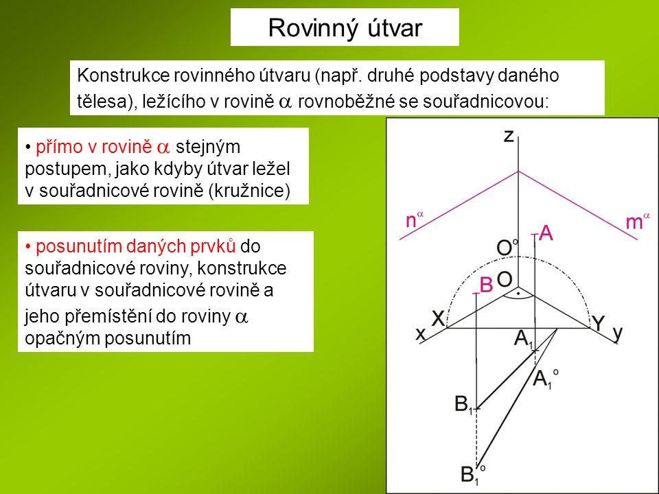 Rovinný útvar Konstrukce rovinného útvaru (např. druhé podstavy daného tělesa), ležícího v rovině a rovnoběžné se souřadnicovou: