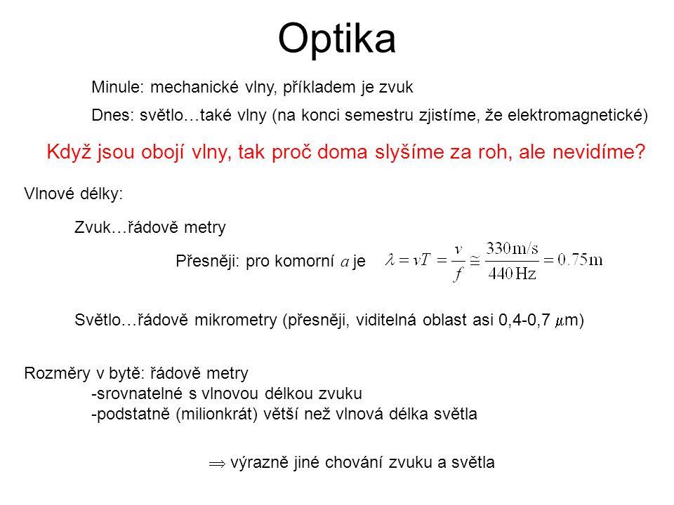 Optika Minule: mechanické vlny, příkladem je zvuk. Dnes: světlo…také vlny (na konci semestru zjistíme, že elektromagnetické)