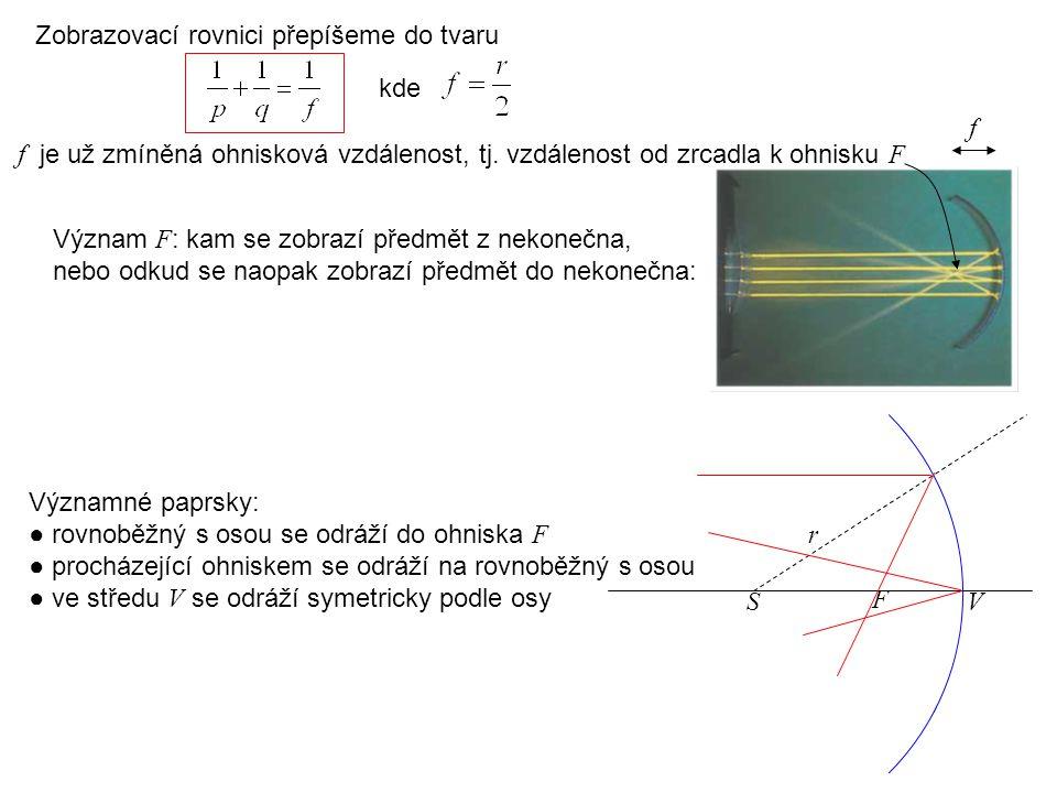 Zobrazovací rovnici přepíšeme do tvaru