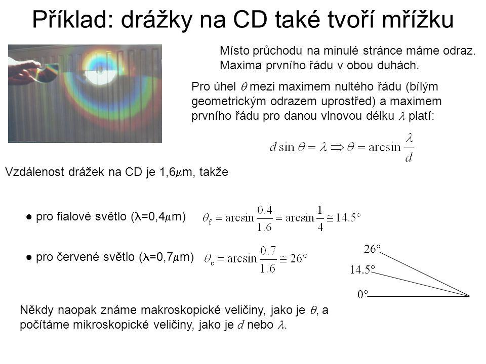 Příklad: drážky na CD také tvoří mřížku