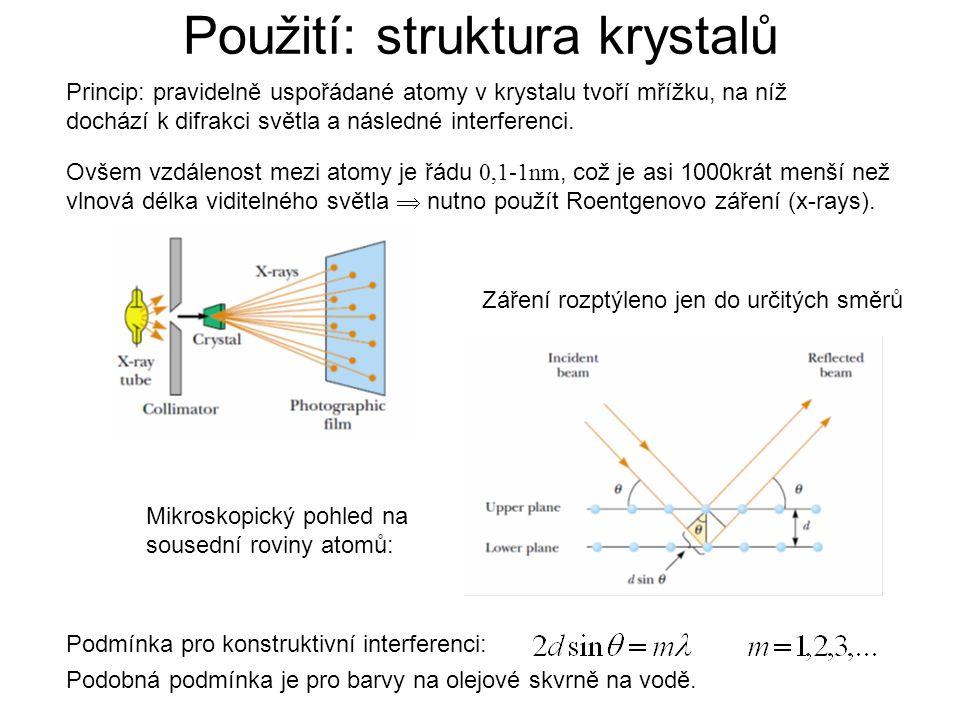 Použití: struktura krystalů
